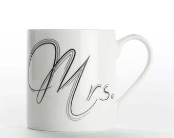 "Coffee mug, coffee cup ""Mrs."" bone china mug"