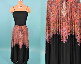 1970s dress | vintage black paisley party dress | 70s pleated maxi dress XS