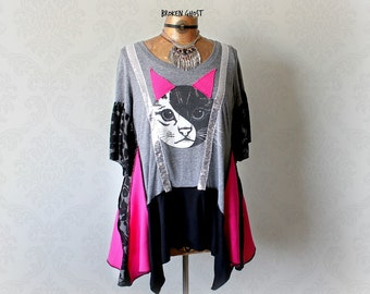 Women's Cat Shirt Sequin Top Funky Clothing Grey Loose Tunic Artistic Clothes Hippie Fashion Hot Pink Unusual Shirt Draped Layers XL