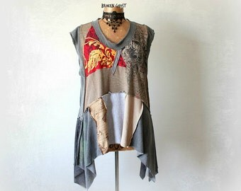 90's Grunge Shirt Upcycled Clothing Lagenlook Tunic Plus Size Boho Top Patchwork Clothes Gypsy Festival Alter T-Shirt Eco Wear XL 1X 'KATIE'