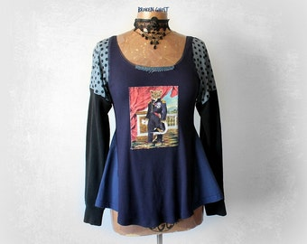 Cat Lover Top Art To Wear Clothes Women's Blue Tunic Upcycled Clothing Eco Friendly Shirt Long Sleeve Scoop Neck Applique Shirt M L  'AURORA