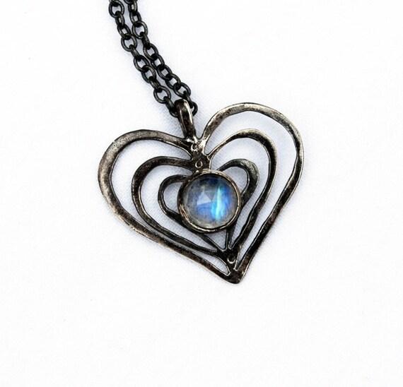 Trinity Oxidized Silver & Rainbow Moonstone Heart Charm Necklace