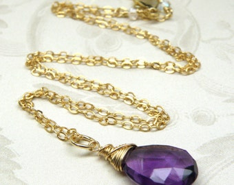 Amethyst Pendant, Gold Filled Chain Necklace, Natural Purple Stone, Simple Teardrop Gemstone, February Birthday, Birthstone Jewelry Gift