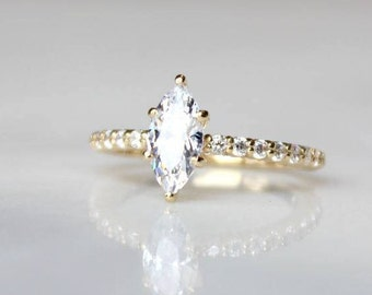Marquis Moissanite Engagement Ring | Forever One Moissanite Engagement Ring | Diamond Solitaire Eternity Gold Wedding Ring [The Cypres Ring]