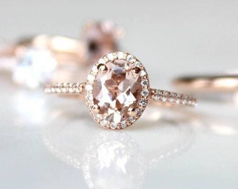 Rose Gold Morganite Ring | Blush Moissanite Oval Engagment Ring | Oval Cut Halo Diamond Wedding Ring [The Rosalie Ring]