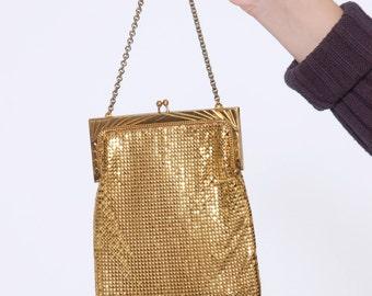 Vintage 70s WHITING and DAVIS Gold MESH Bag Flapper Purse Gatsby Fringe Bag Vintage 20s Style Purse