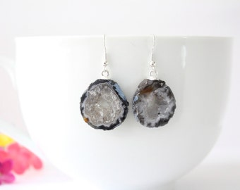 Geode Earrings, Geode Slice Earrings, Crystal Slice Earrings, Agate, Druzy Natural Earrings, Boho Earrings, Natural Rocks, GNE36