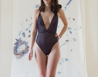 As a Woman I Mesh Navy Low Back Bodysuit