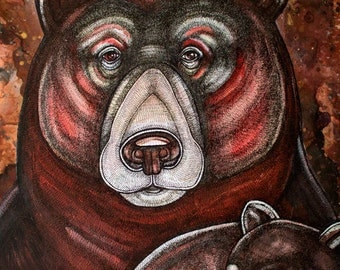 Original Grizzly Bear and Cub Artwork by Lynnette Shelley