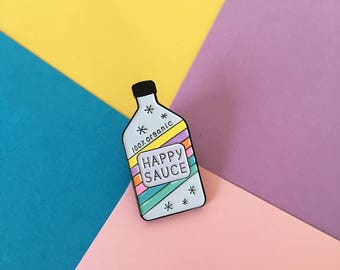 Happy Sauce enamel pin, happy pin, rainbow pin, cute enamel pin, happy sauce lapel pin badge, awesome sauce pin, cute sauce pin HibouDesigns