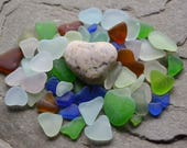 Hearts - Genuine Beach Sea Glass, Natural Heart Shaped Seaglass, Colorful Bulk Collection, UV Glow, Cobalt, Greens, Seafoam, Brown..