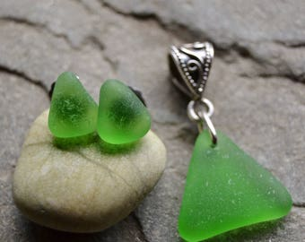 Genuine Sea Glass Sterling Silver Pendant & Stud Earrings Set - Bright Spring Green Triangles