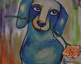 "Miniature Dachshund With Flower - limited edition print - dog - 5"" x 7"""