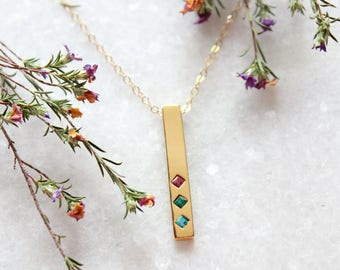 Gold Birthstone Bar Necklace.  Gold Family Necklace with Birthstones.  Birthstone Necklace in Gold. Family Necklace with Birthstones. TOTEM