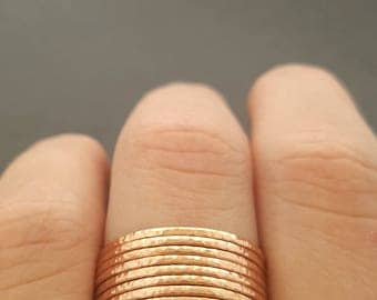 Rose Gold Stacking Rings super thin textured rings gift for mum best friend sister daughter stackable rings
