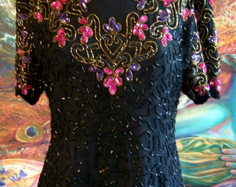 Beaded blouse, Sequin Blouse, Holiday Top, Black beaded Flowers, size M