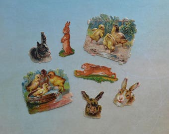 Miniature Antique Victorian Rabbits Chicks Scraps Lot