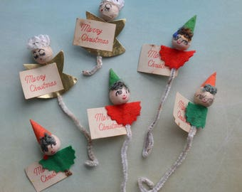 Vintage Spun Cotton Elf and Angel Chenille Package Tie-ons