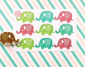 elephant rubber stamp, woodland animal hand carved rubber stamp, diy birthday baby shower favor bags, kids stationery, no2