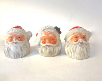Lot Of 2  Vintage Santa  Bell Ornaments Ceramic Plus 1 Free Made In Japan 1950s Measures 2 Inches Tall X 1 & 3/4 Inches Wide