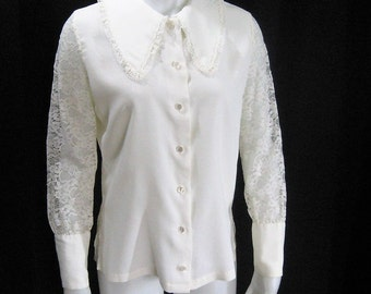 White Poet Blouse Mod 60's 70's Vintage, Long Sheer Lace Sleeve Gauntlet Cuff, Pointed Collar, Romantic Ship 'n Shore Overblouse, Bust 34 36
