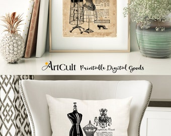 Two Digital Sheets SHABBY FRENCH COTTAGE No.11 Printable Images to print on fabric / paper, Iron On Transfer for tote bags t-shirts pillows