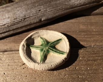 Starfish ceramic cabochon natural cabochon gear cabochon beachy beads sea shell cabochon Artist made cabochon ceramic bead weaving supplies