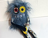 Handmade Monster Plush - OOAK Plush Monster Toy - Hand Embroidered Stuffed Monster - Slate Gray Blue Faux Fur Monster - Cute Weird Plush Toy