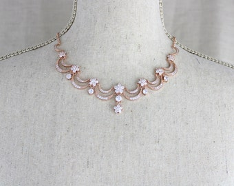 Rose Gold Bridal necklace, Rose Gold Bridal earrings, Wedding jewelry set, Rose gold pearl necklace, Victorian inspired necklace set