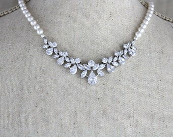 Crystal Bridal Necklace, Rose Gold Wedding necklace, Wedding jewelry, Pearl necklace, Crystal necklace, Swarovski necklace, Bridal Jewelry