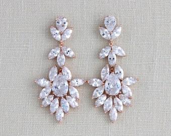 Rose Gold Bridal earrings, Bridal jewelry, Wedding earrings, Statement earrings, Chandelier earrings, Swarovski earrings, Crystal earrings