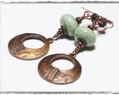 Handmade, Jewelry, Earrings, Beaded, Lampwork, Antique Copper, Seafoam, Green, Earthy, Boho, Artisan, Lampwork Earrings, Hammered Copper