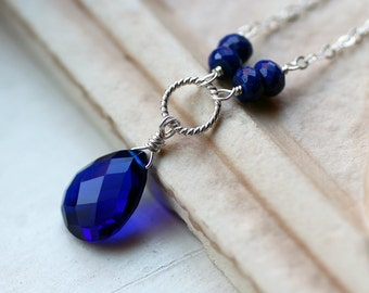 "Cobalt Blue Quartz Necklace with Lapis on Sterling Silver - ""Deep Ocean"" by CircesHouse on Etsy"