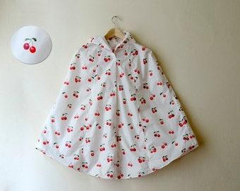 Rockabilly Rain Cape, Cherry Print Raincoat, Vintage Inspired Cape with Hood, Cherry 50s Pring Waterproof, Unisex Rain Jacket Raincape