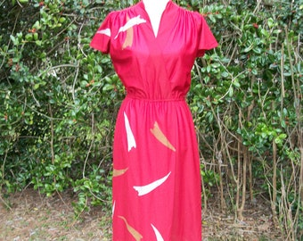 70s Burgundy Red Faux Wrap Dress size Medium Flutter Sleeves Disco Dress