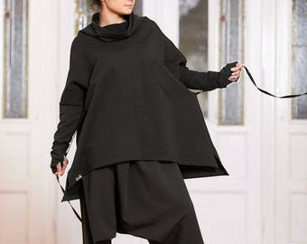 Plus Size Clothing, Plus Size Tunic, Black Loose Top, Plus Size Top, Oversized Top, Loose Tunic, Long Sleeve Top, Cowl Neck Top, Black Top