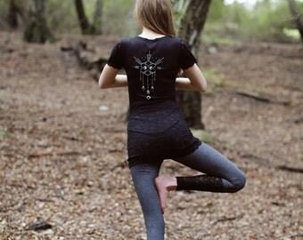 womens yoga top, organic yoga shirt, lace top, lace shirt, sacred geometry shirt, black tshirt, organic yoga clothes, organic yoga top