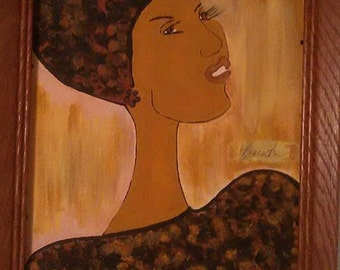 clearance painting, black woman art,headcovering, natural,african art,hadwrap, african american art,african american painting