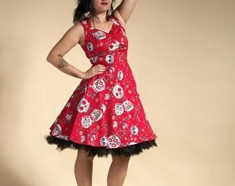 Dress pin-up, calaveras red dress, dress rockabilly