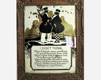 Antique Picture, Vintage Buckbee Brehm, I Don't Think, Framed Silhouette, Art Deco Era Wood Frame, Framed Print, Old Friendship Poem