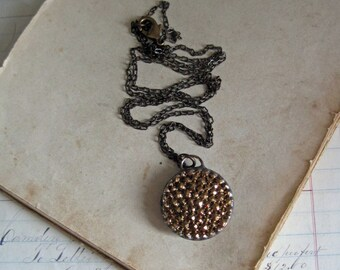 Gold Glass Button Necklace Repurposed Jewelry Simple Pendant
