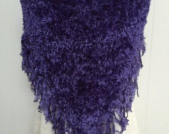 Fabulous Fun Fur Boa Poncho in Deep Purple with Fringed Edge - Size Medium