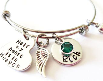 Half My Heart Is In Heaven, Personalized Memorial Bracelet, Loss of Husband, Remembrance Gift, Memory of Husband, Sympathy Gift, Son Loss