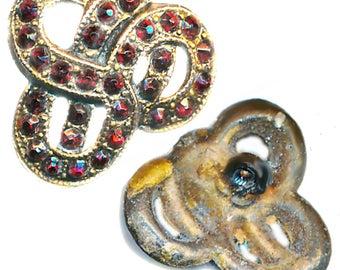 Button--Small 19th C. Garnet Jeweled Brass Knot Design