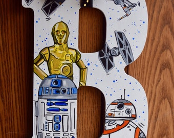 Star Wars Initial Wood Sign Galaxy Jedi The Force 3CPO R2D2 BB8 Tie Fighter XWing Initial HandPainted Star War Room Door Wall Hanging Decor