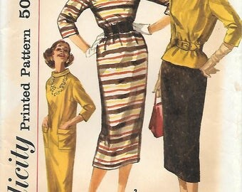 Simplicity 2173 1950s Simple to Make Sack Dress Top and Wiggle Skirt Vintage Sewing Pattern Size 14 Bust 34