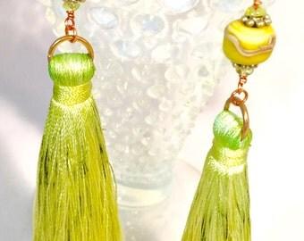 Green Tassel Earrings, Chartreuse Green Hand dyed Silk Tassel Earrings with Handmade Porcelain Beads and Peridot