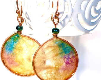 Hand painted Rice Paper and Copper Artisan Earrings