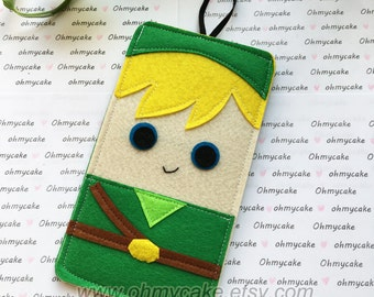 Custom Size Felt iPhone Case, Cell Phone Sleeve, Felt Phone case, Handmade cell phone purse, Zelda inspired case, iPhone 7 case