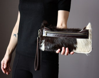 Black Cat clutch,  cat lady bag, hair on hide clutch, unique leather clutch, cowhide purse, pouch, kitten clucth, Spotted Cowhide clutch